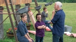 (From L-R) Actress Frances McDormand, actor Peter Dinklage and director/writer Martin McDonagh on the set of THREE BILLBOARDS OUTSIDE EBBING, MISSOURI. Photo by Merrick Morton.© 2017 Twentieth Century Fox Film Corporation All Rights Reserved